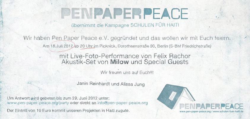 Einladungskarte PEN PAPER PEACE