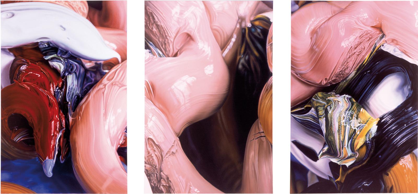 DIE GROSSE LIEBE  Öl auf Leinwand  Triptychon, jeweils 270 x 175 cm   2001